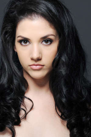 Beautiful woman with long black hair Stock Photo - 9977704