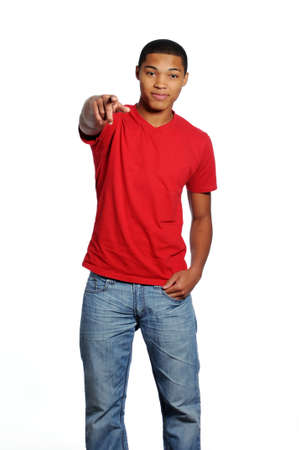 african american boy: Young African American Teenage Male Pointing