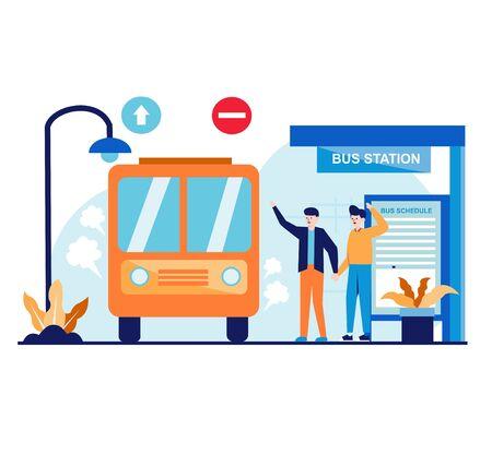 Bus Staion Flat Design