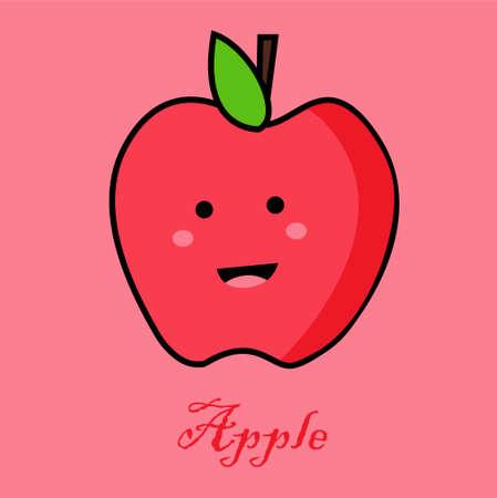 Cute Apple icon in flat design