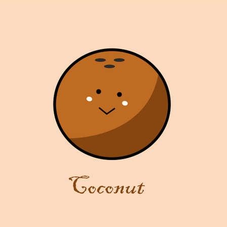 Cute Coconut in flat design