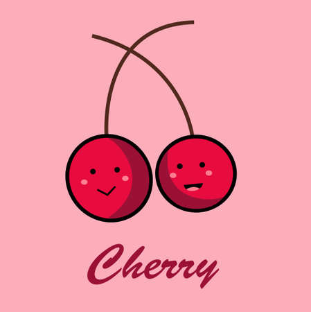 cute cherry icon in flat design