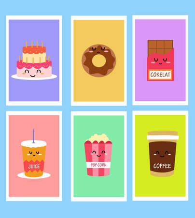 Cute Snack icon in flat design