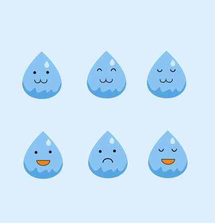 Cute Water Icon in flat design
