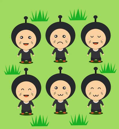 Cute Ninja Character In Flat Design