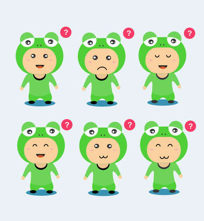 Cute Frog Character in flat design