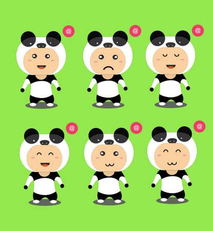 Cute Panda Character in Flat Design