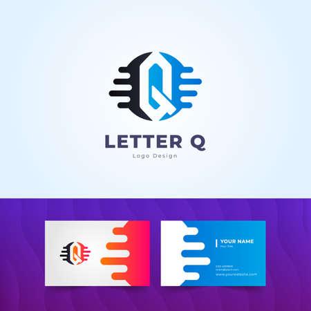 Professional Q Letter Logo and Business Card Design Illustration