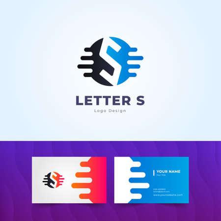Professional S Letter Logo and Business Card Design Illustration