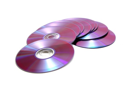 dvds: pink disk pile on a white background