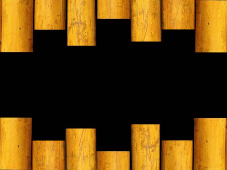 bamboo frame with black space in center Stock Photo