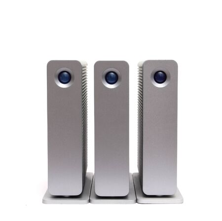 data recovery: three external hard disks on a white background