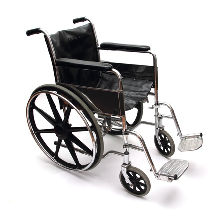 a black and silver wheel chair on white background