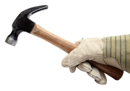 closeup of hand with glove holding a hammer Stock Photo - 10934113