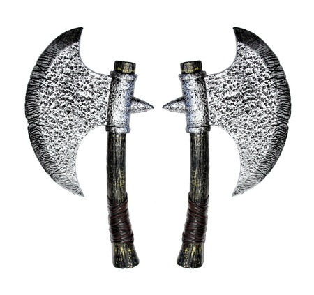 two old style toy axes over white background