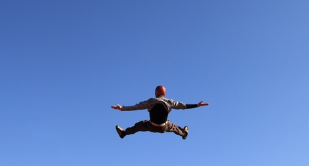image of a skydiver flying in the sky Editorial