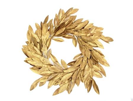 corona navidad: Gloden navidad corona sobre blanco