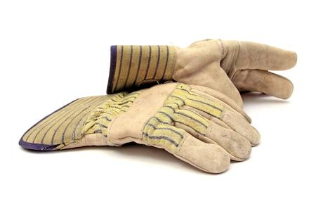 gant blanc: paire de gants de travail sur blanc Banque d'images