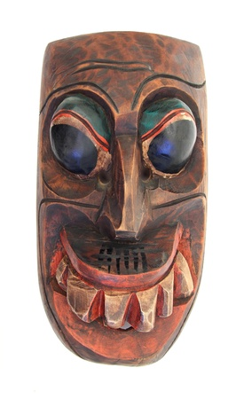 tribal wood mask over white Stock fotó