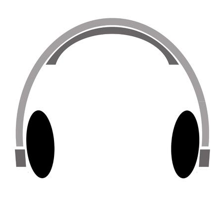 bitman illustration of grey and black headphones Stock Illustration - 12917374