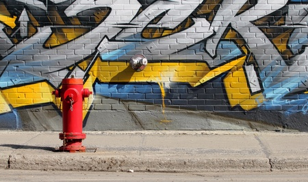 image of a red fire hydrant in front of a graffiti wall