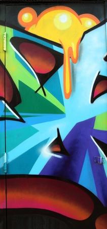 urban colors: colorido de la pared de graffiti primer plano tomada en la calle Editorial
