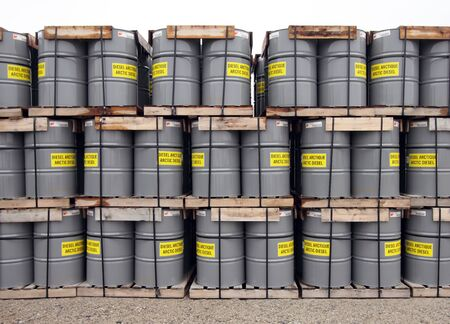closeup of a pile of gas drums in the arctic Stock Photo - 14841248