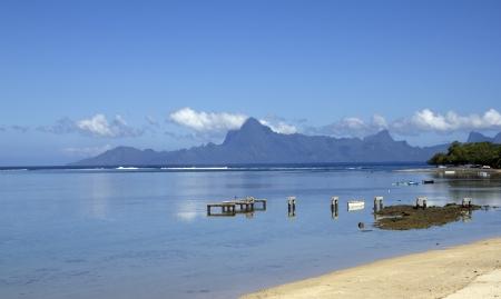 polynesia: broken pier on a lagoon in polynesia Stock Photo