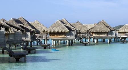 polynesia: over water bungalows on the lagoon