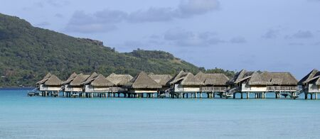 polynesia: over water bungalows on the bora bora lagoon