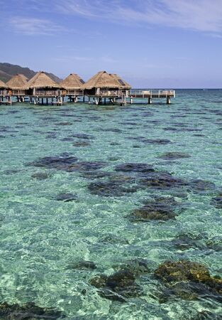 over water bungalow and large coral reef