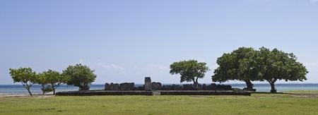 polynesia: wide image of a marae ruins in raiatea french polynesia