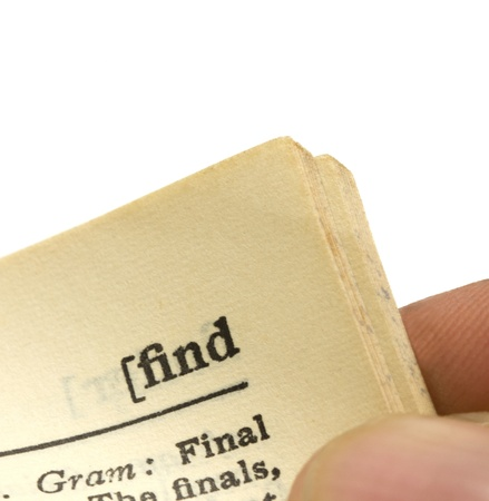 macro image of a dictionary page with the word find Stock Photo - 16600964