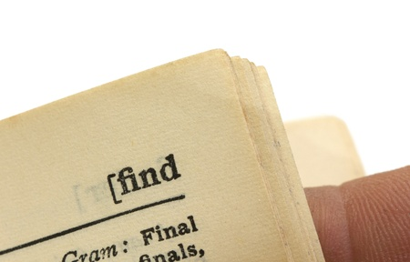 macro image of a dictionary page with the word find Stock Photo - 16600968