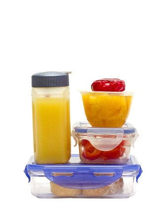 closeup of a colourful lunch in plastic containers Stock Photo