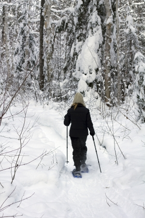 image of a woman with snowshoeing in the middle of a snowy forest photo