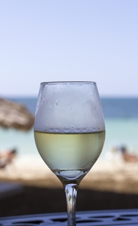 closeup of a glass of white wine in front of the ocean photo