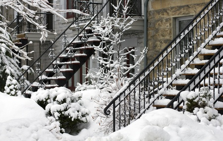 closeup of a residential neighborhood of montreal at winter