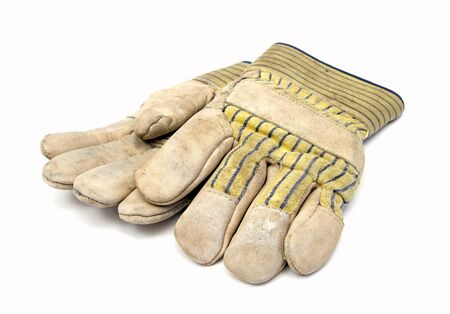 pair of working gloves over white Stock Photo