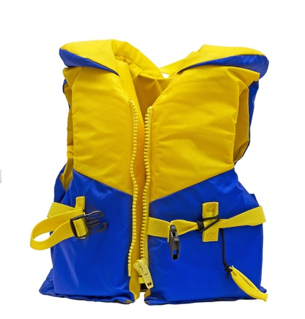yellow and blue life jacket over white
