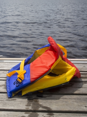 closeup of a life jacket on a pier