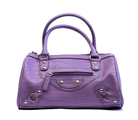 purple woman handbag over a white background