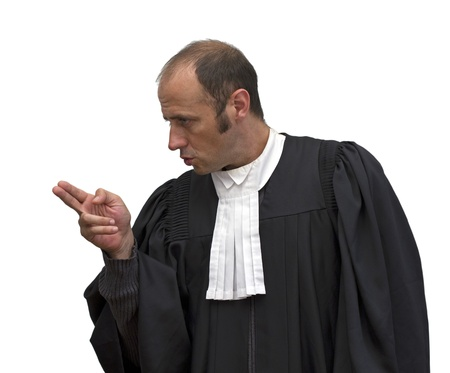 accusing: lawyer with uniform over a white background