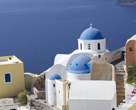 classical church on santorini island greece photo