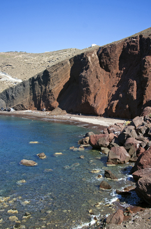 landscape of santorini volcanic red beach photo