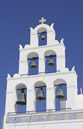 classical cycladic church in santorini greece photo