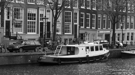 black and white view of Amsterdam