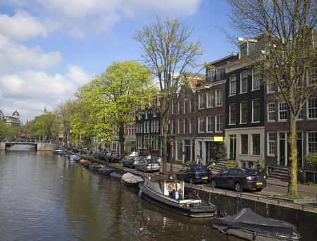 view of the canal district architecture of Amsterdam