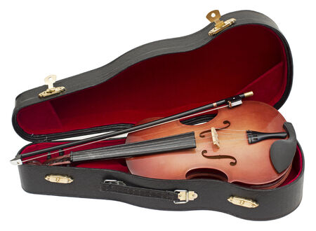 fiddles: wood violin in his case isolated over white