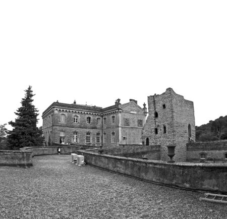 black and white image of chateau de rochegude in france